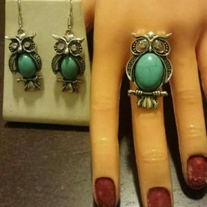 Owl Earrings with Matching Ring